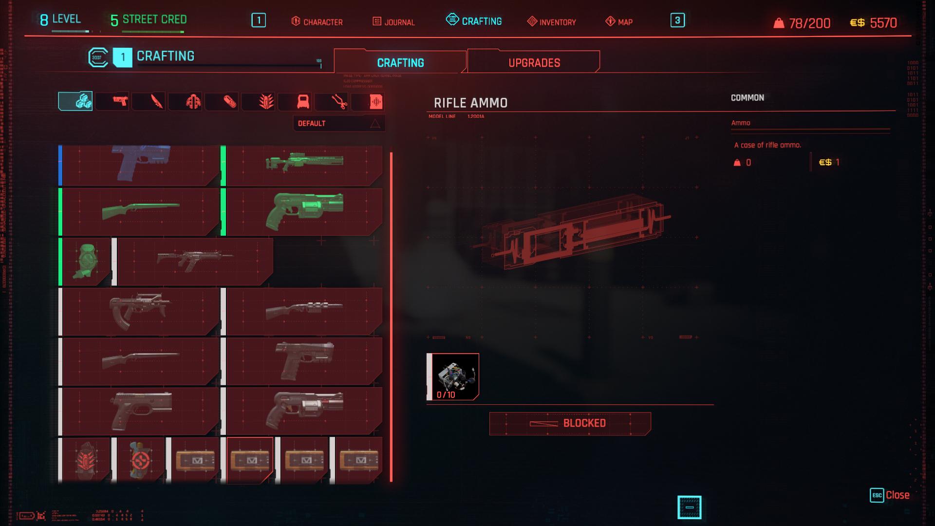 Fabriquer des munitions dans Cyberpunk 2077