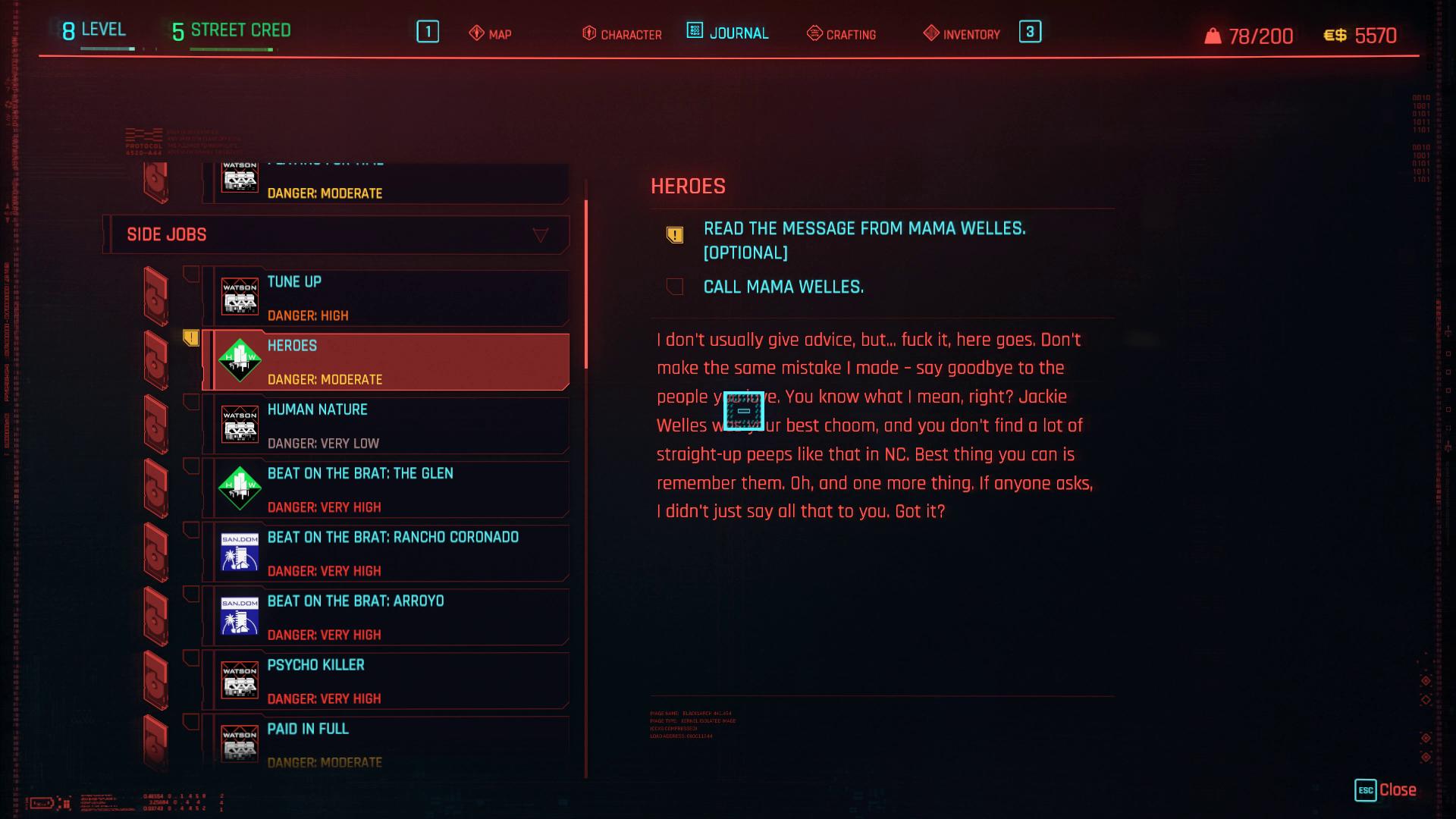 Cyberpunk 2077 Heroes Side Job