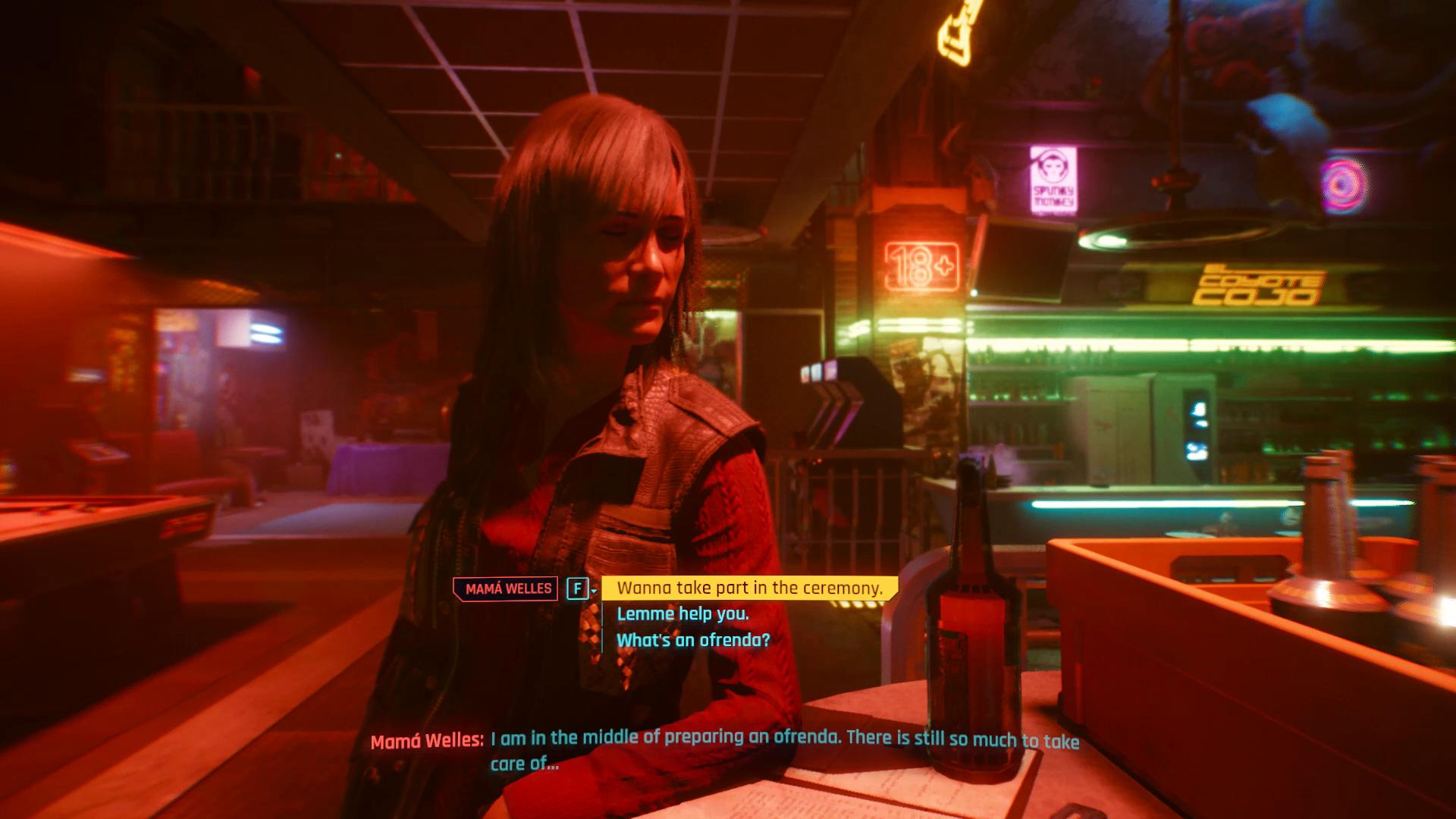 Cérémonie Cyberpunk 2077 Mama Welles