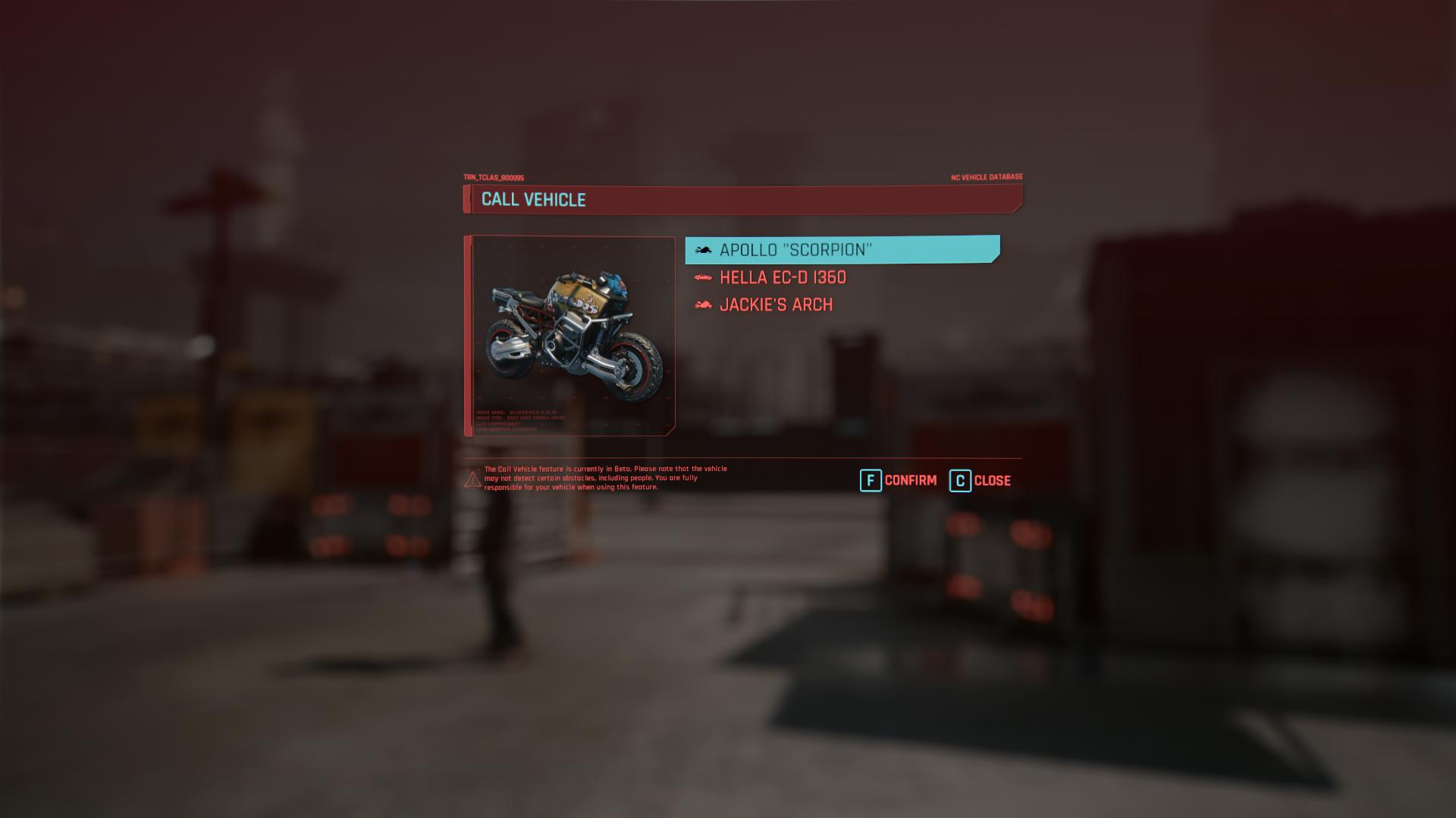 Menu du véhicule Cyberpunk 2077