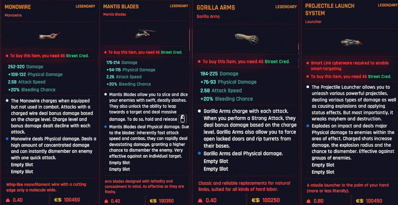 Centre-ville Ripperdoc Legendary Arms Cyberpunk 2077
