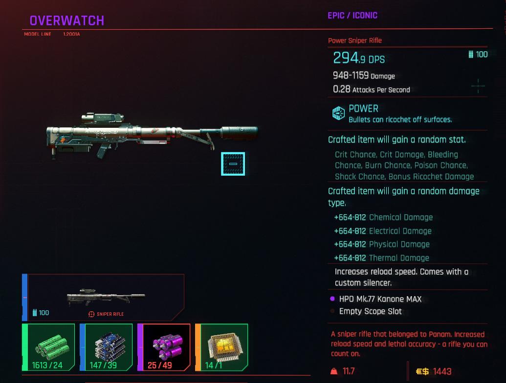 Meilleurs fusils de sniper dans Cyberpunk 2077 - Overwatch