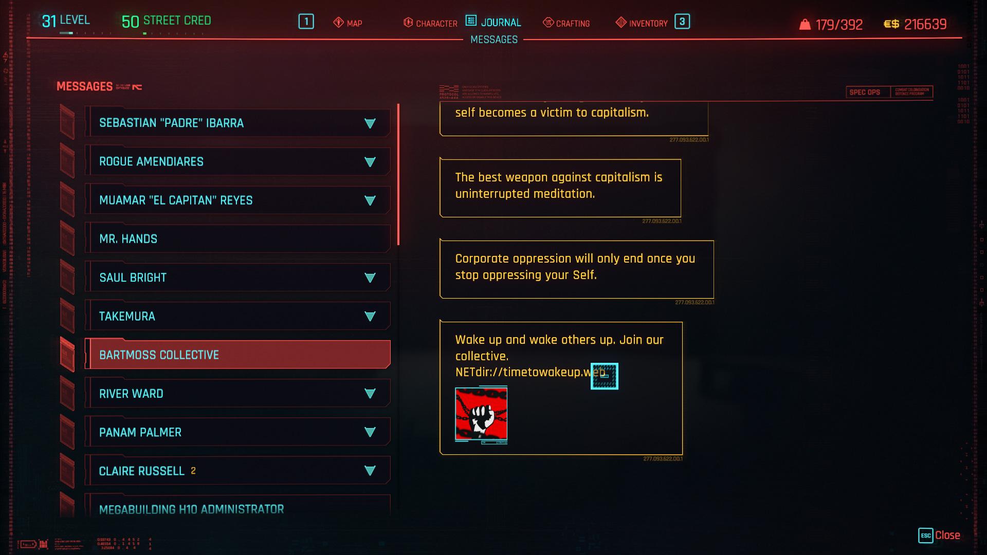 Comment enquêter sur le site à partir du message collectif Bartmoss dans Cyberpunk 2077 1