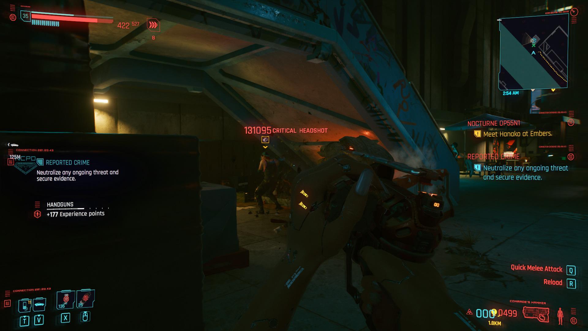 Meilleurs pistolets de Cyberpunk 2077-131 000 Crit Comrade's Hammer