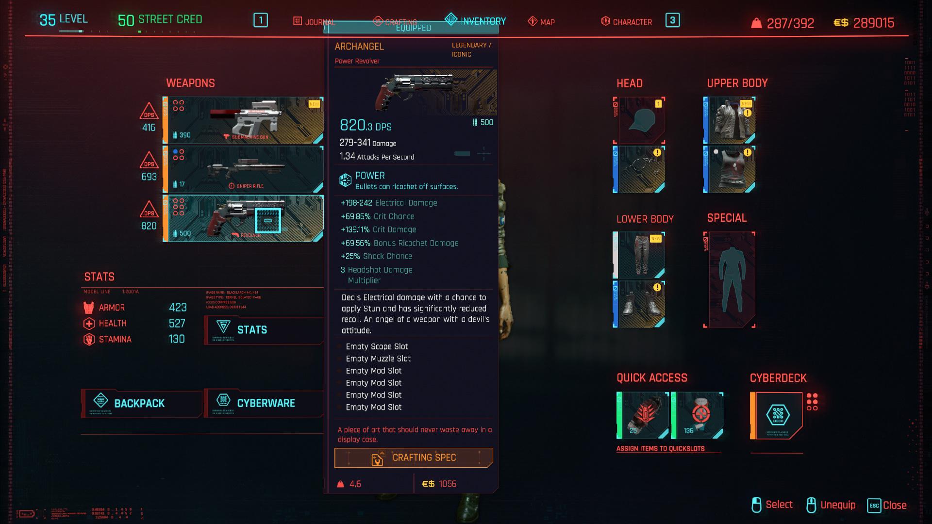 Meilleurs pistolets dans Cyberpunk 2077 et comment les obtenir Archange