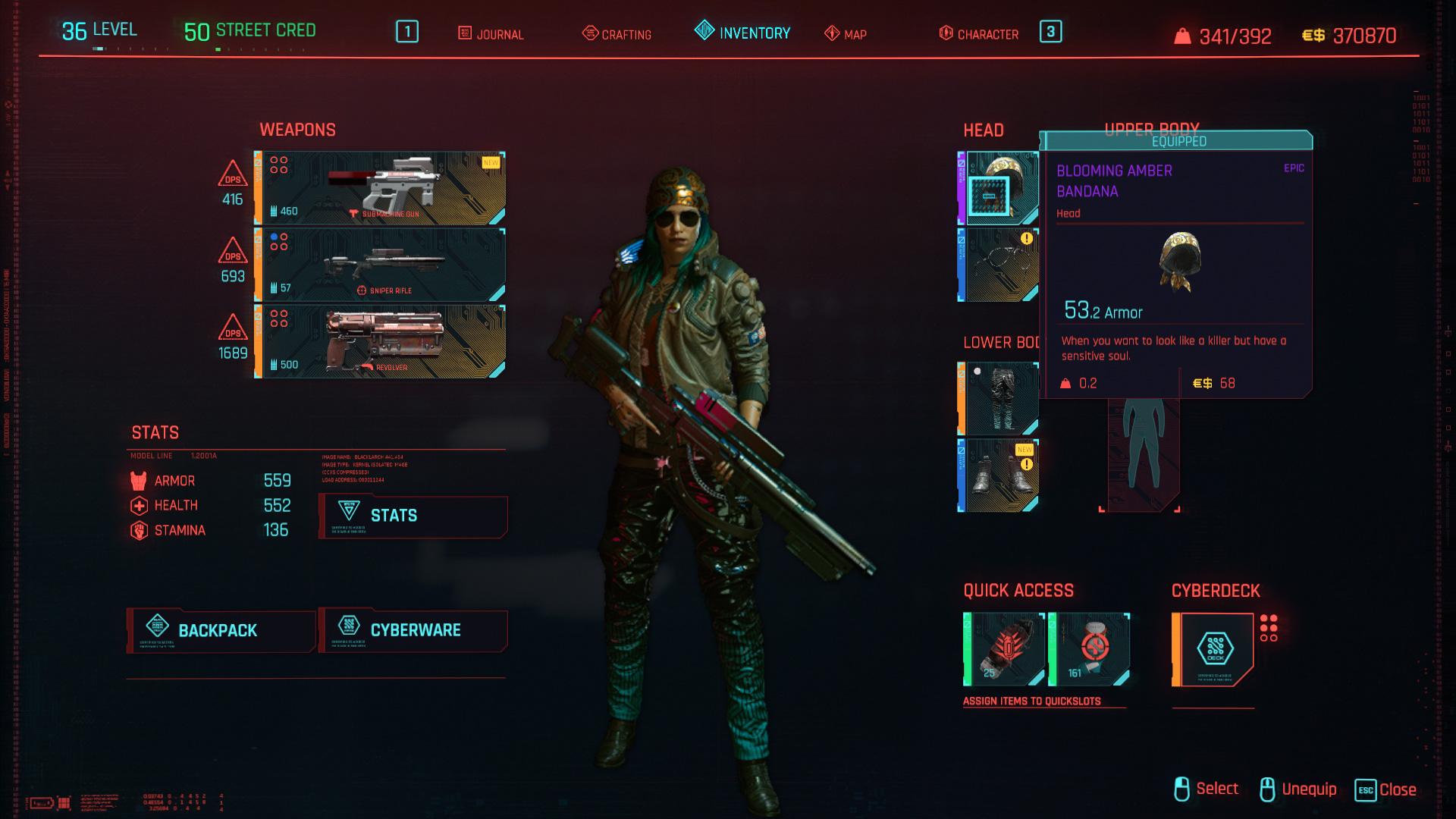 Tous les vêtements légendaires et emblématiques de Cyberpunk 2077 - Blooming Amber Bandana