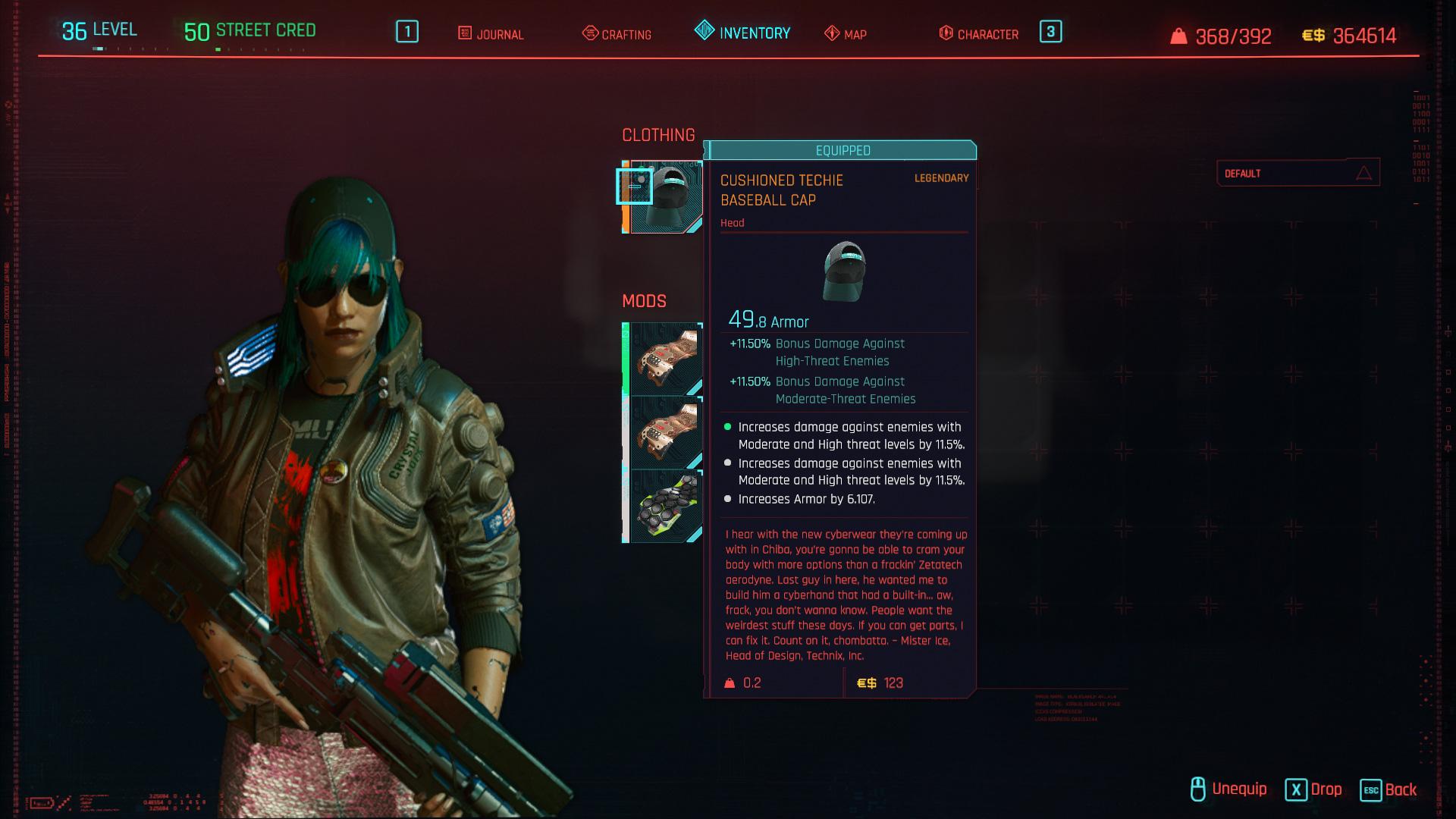Tous les vêtements légendaires et emblématiques de Cyberpunk 2077 - Casquette de baseball rembourrée Techie