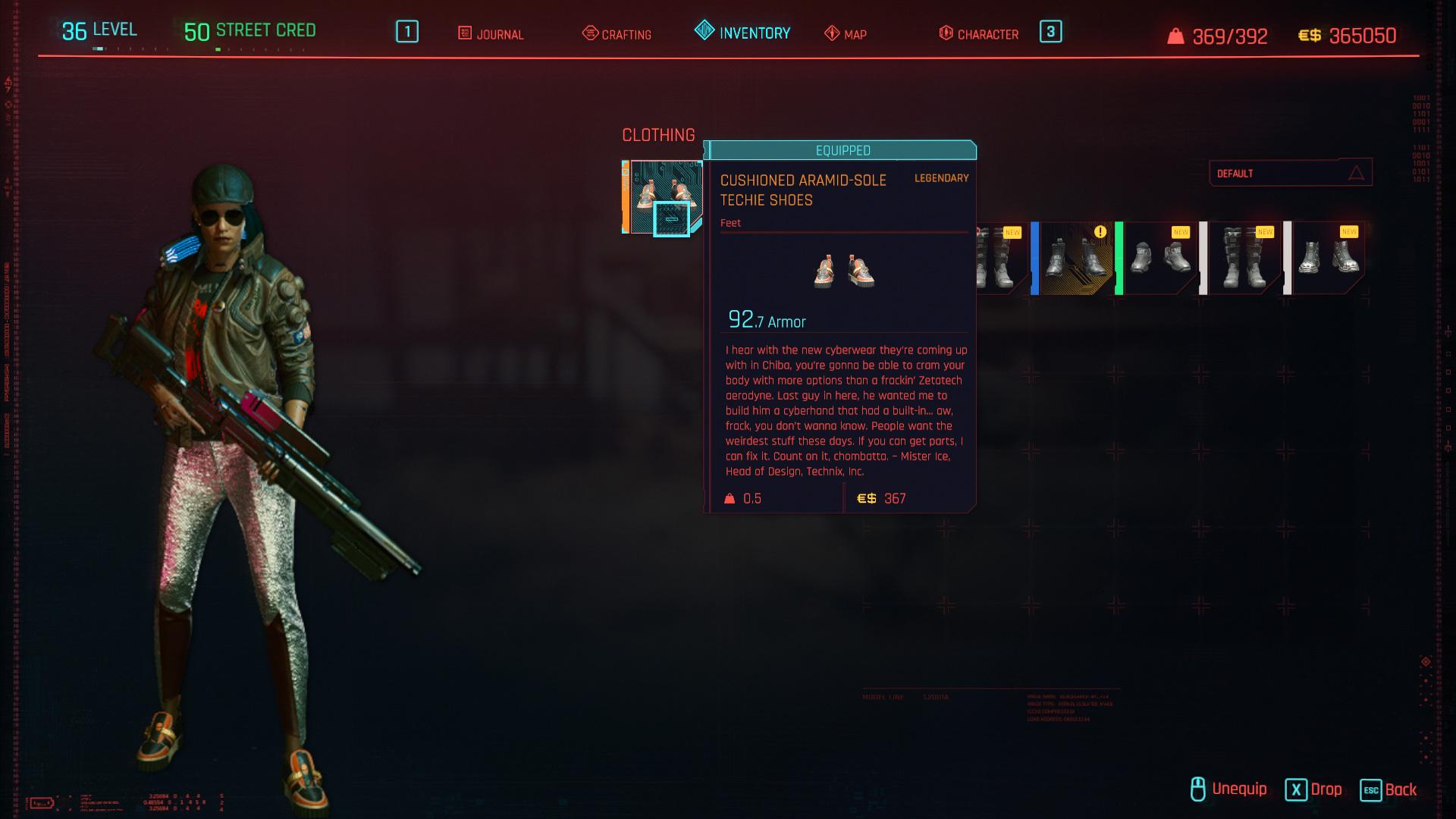 Tous les vêtements légendaires et emblématiques dans Cyberpunk 2077 - Chaussures Techie à semelle aramide rembourrée