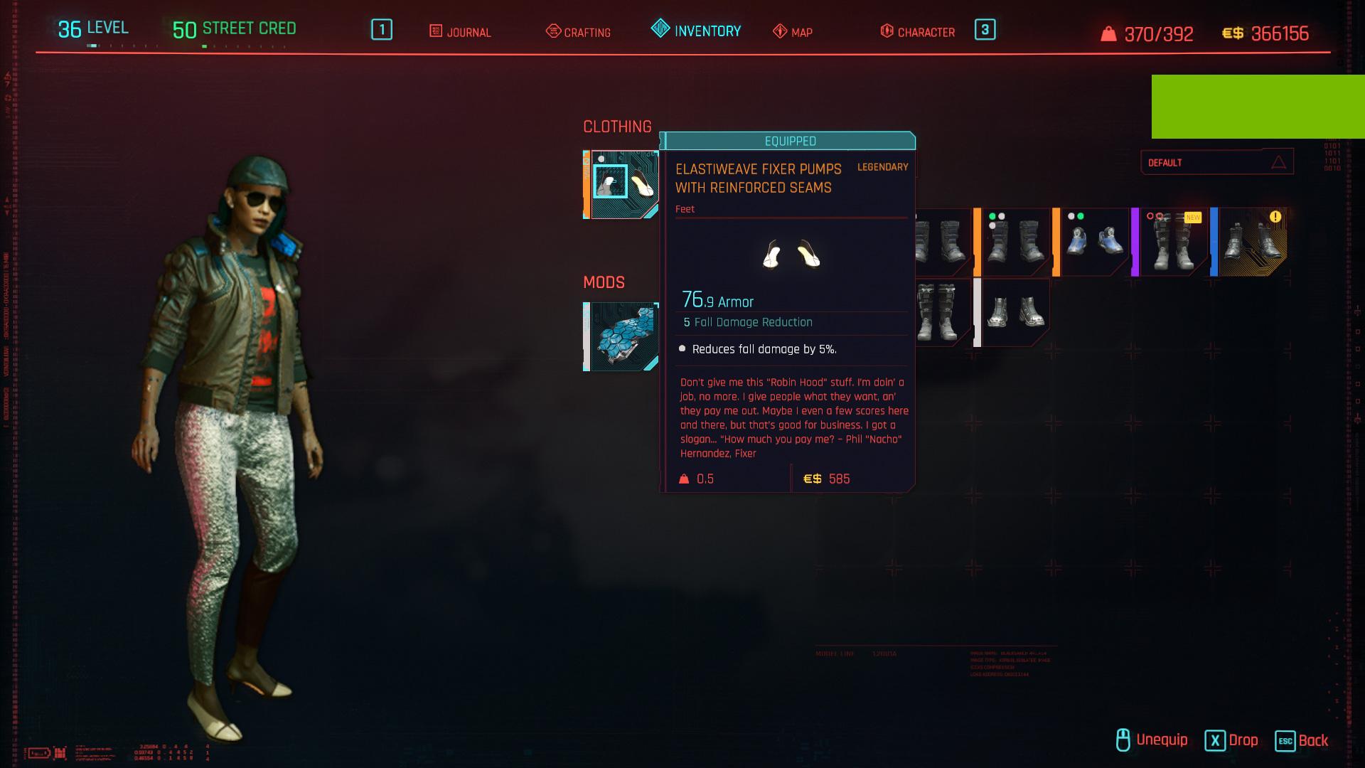 Tous les vêtements légendaires et emblématiques de Cyberpunk 2077 - Chaussures de fixation Elastiweave avec coutures renforcées