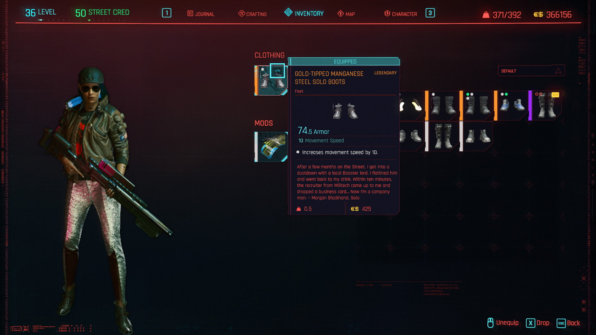 Tous les vêtements légendaires et emblématiques de Cyberpunk 2077 - Bottes solos en acier au manganèse à pointe dorée