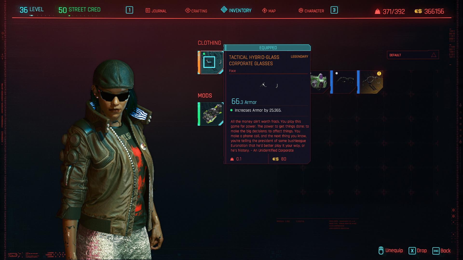 Tous les vêtements légendaires et emblématiques de Cyberpunk 2077 - Lunettes d'entreprise tactiques en verre hybride