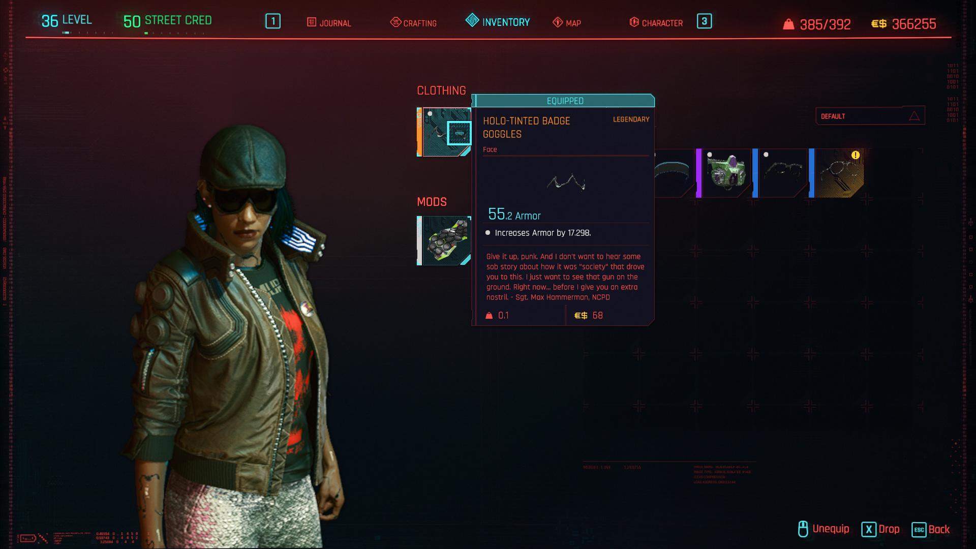 Tous les vêtements légendaires et emblématiques de Cyberpunk 2077 - Lunettes de protection avec badge teinté Holo