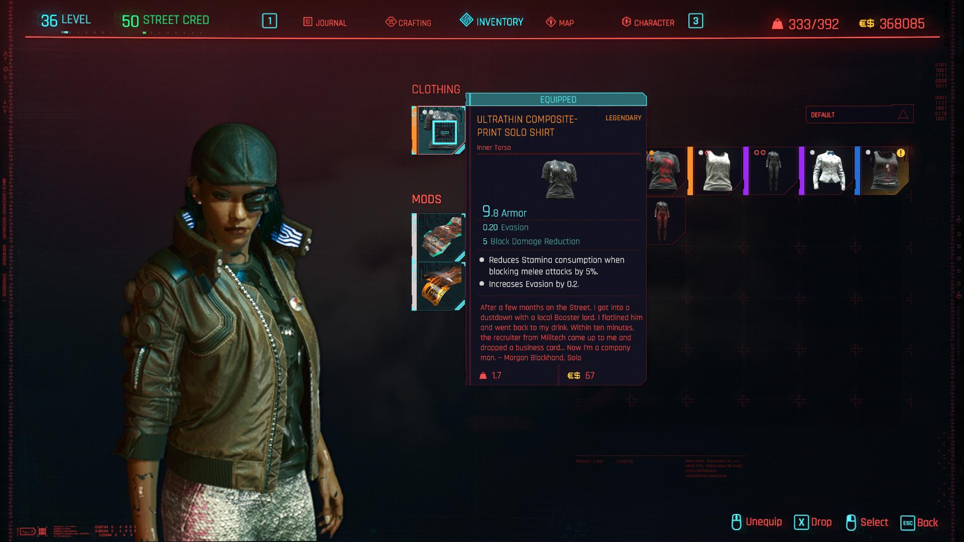 Tous les vêtements légendaires et emblématiques de Cyberpunk 2077 - Chemise solo ultra-mince à imprimé composite
