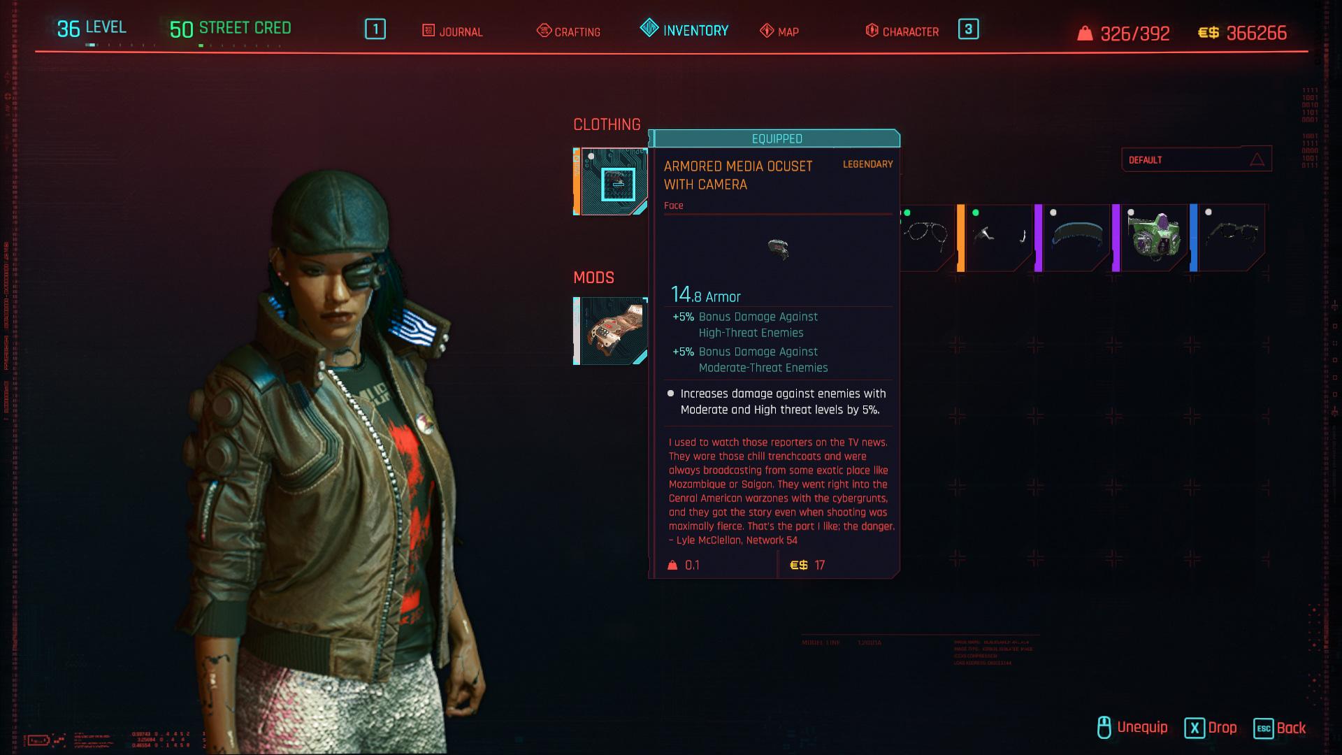 Tous les vêtements légendaires et emblématiques de Cyberpunk 2077 - Armored Media Ocuset avec caméra