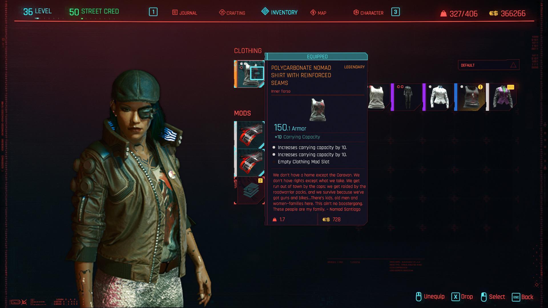 Tous les vêtements légendaires et emblématiques de Cyberpunk 2077 - Chemise nomade en polycarbonate avec coutures renforcées