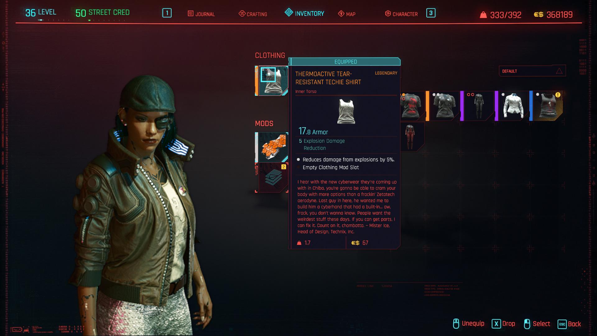 Tous les vêtements légendaires et emblématiques de Cyberpunk 2077 - Chemise techno thermoactive résistante aux déchirures