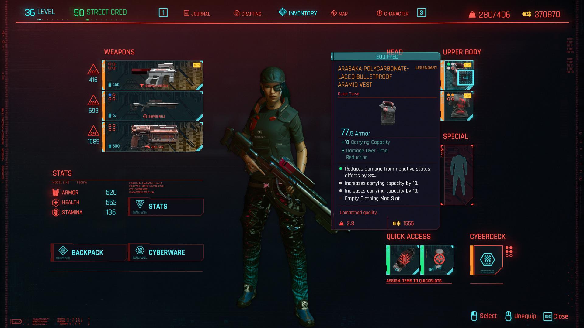 Tous les vêtements légendaires et emblématiques de Cyberpunk 2077 - Gilet pare-balles en aramide à lacets en polycarbonate Arasaka