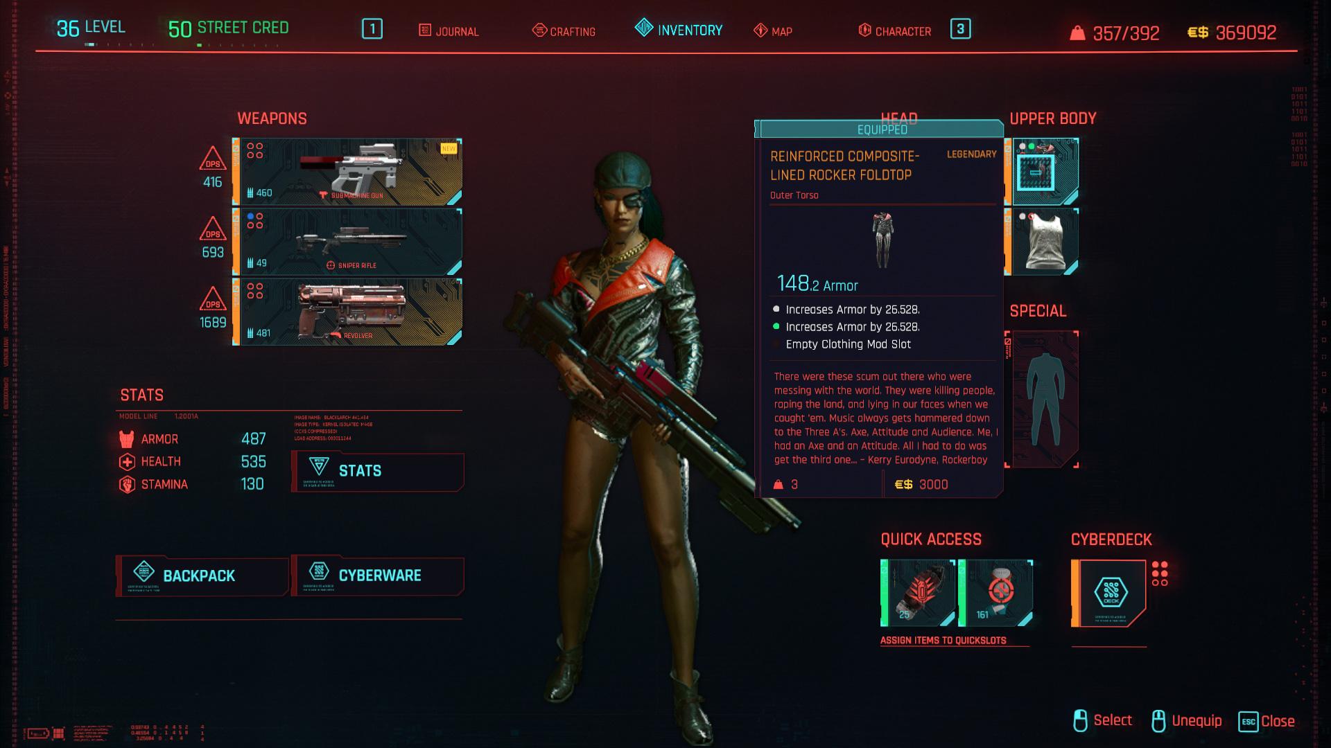 Tous les vêtements légendaires et emblématiques dans Cyberpunk 2077 - Pliable à bascule doublé en composite renforcé