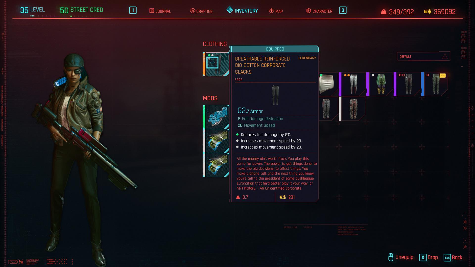 Tous les vêtements légendaires et emblématiques de Cyberpunk 2077 - Pantalon d'entreprise respirant en bio-coton renforcé