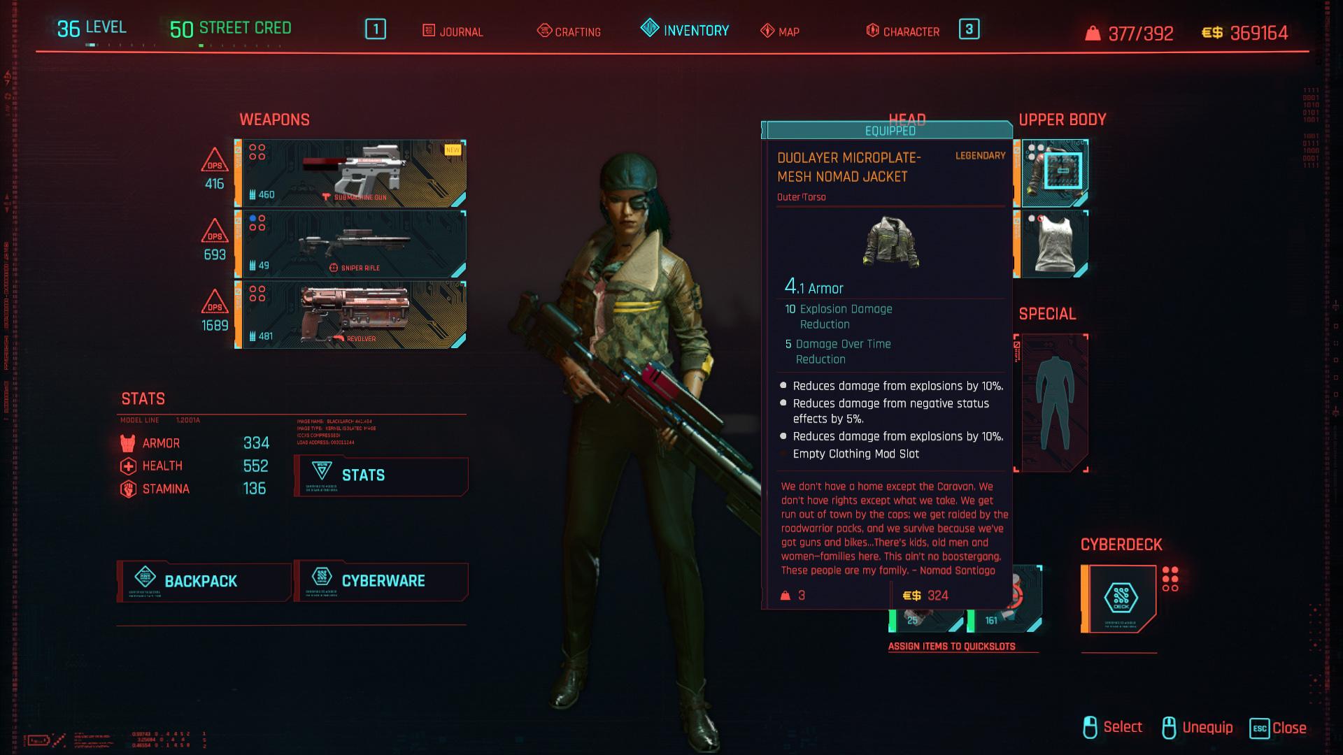 Tous les vêtements légendaires et emblématiques de Cyberpunk 2077 - Veste Nomade Microplate Mesh Duolayer