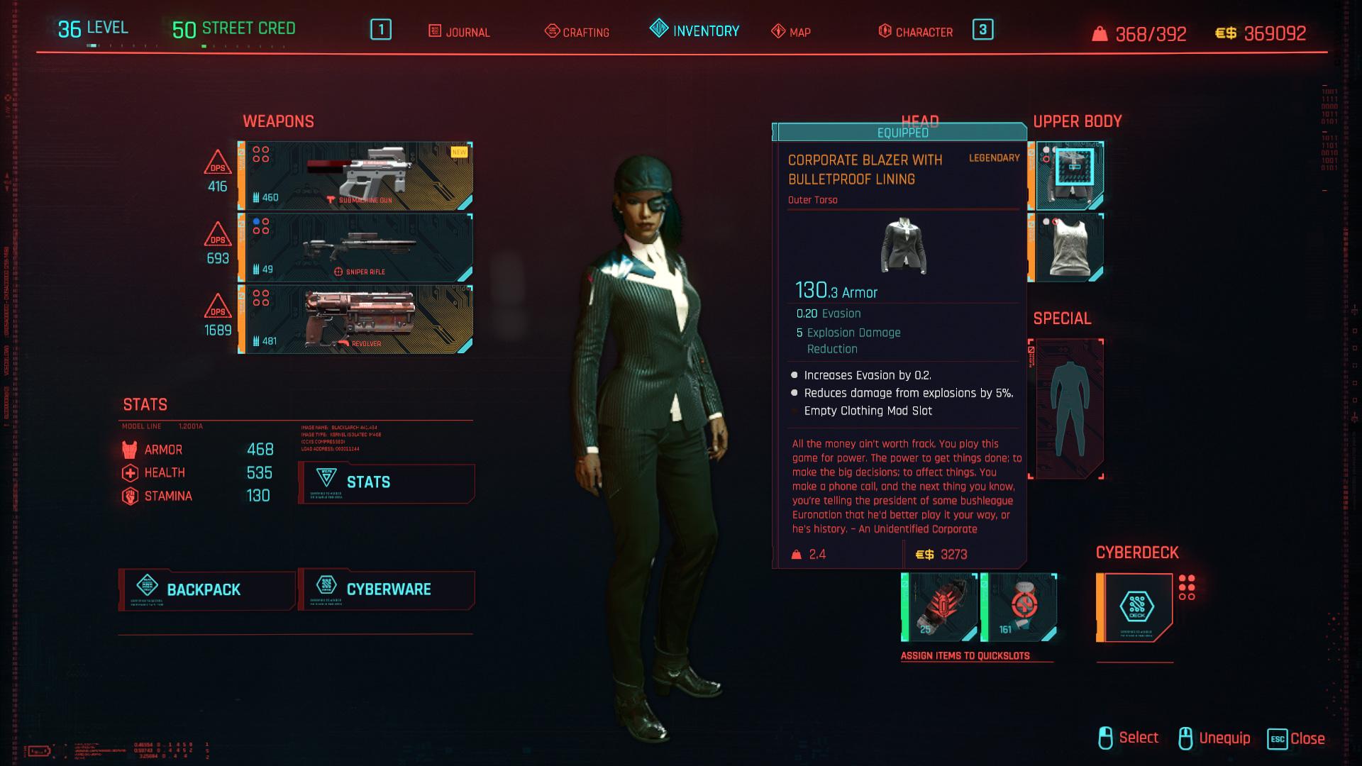 Tous les vêtements légendaires et emblématiques de Cyberpunk 2077 - Blazer d'entreprise avec doublure pare-balles