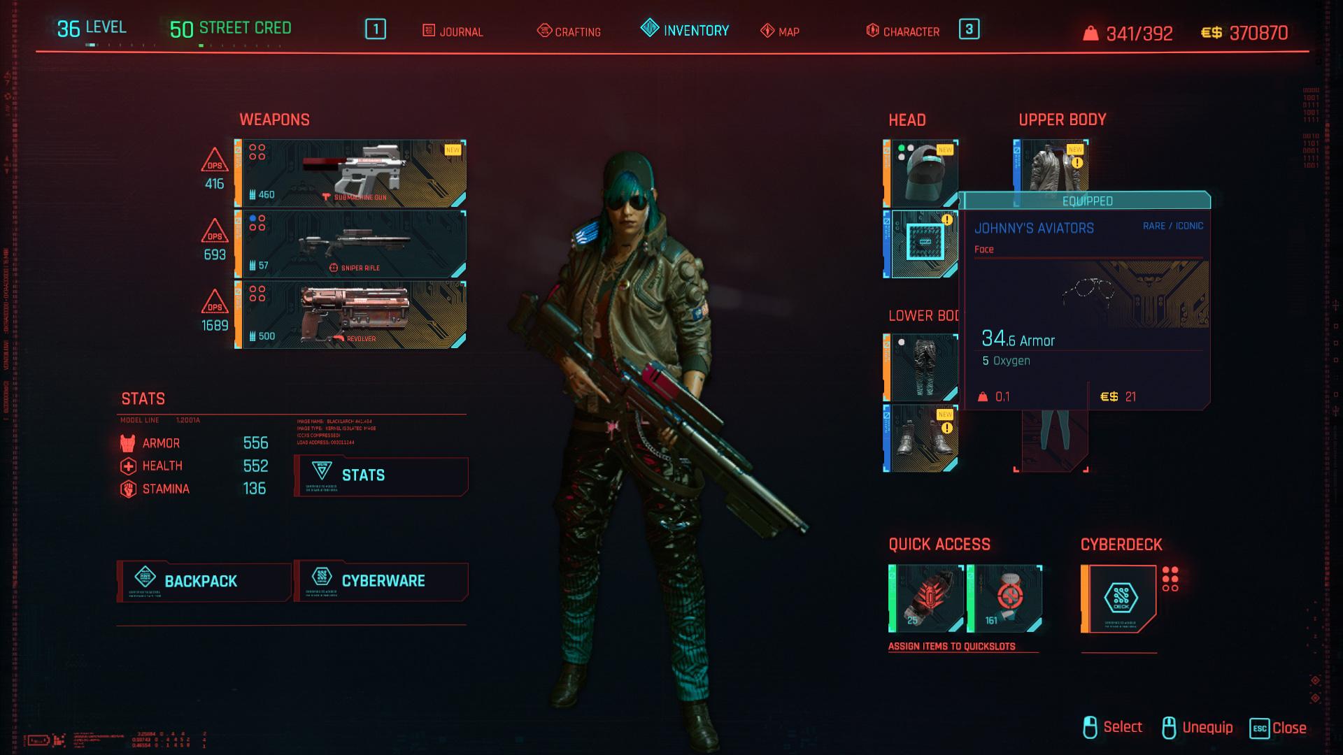 Tous les vêtements légendaires et emblématiques de Cyberpunk 2077 - Johnny's Aviators