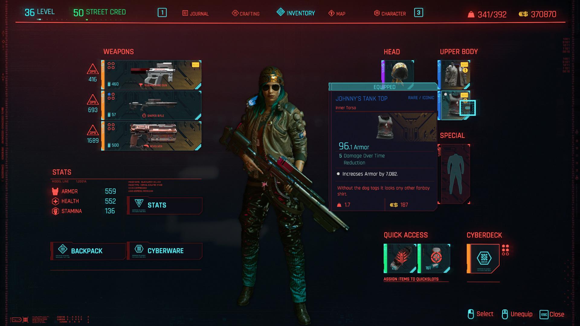Tous les vêtements légendaires et emblématiques de Cyberpunk 2077 - Johnny's Tank Top