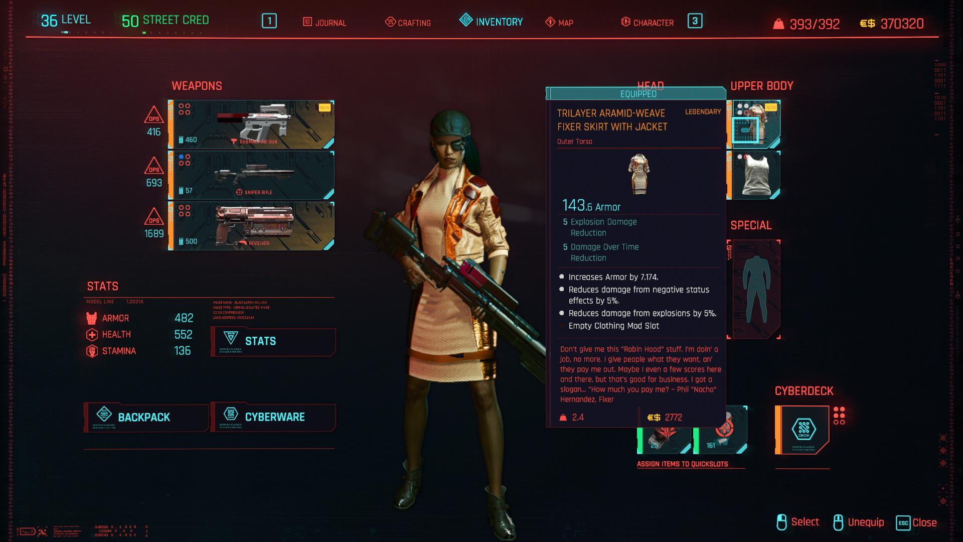 Tous les vêtements légendaires et emblématiques de Cyberpunk 2077 - Manteau de fixation tricouche à armure aramide