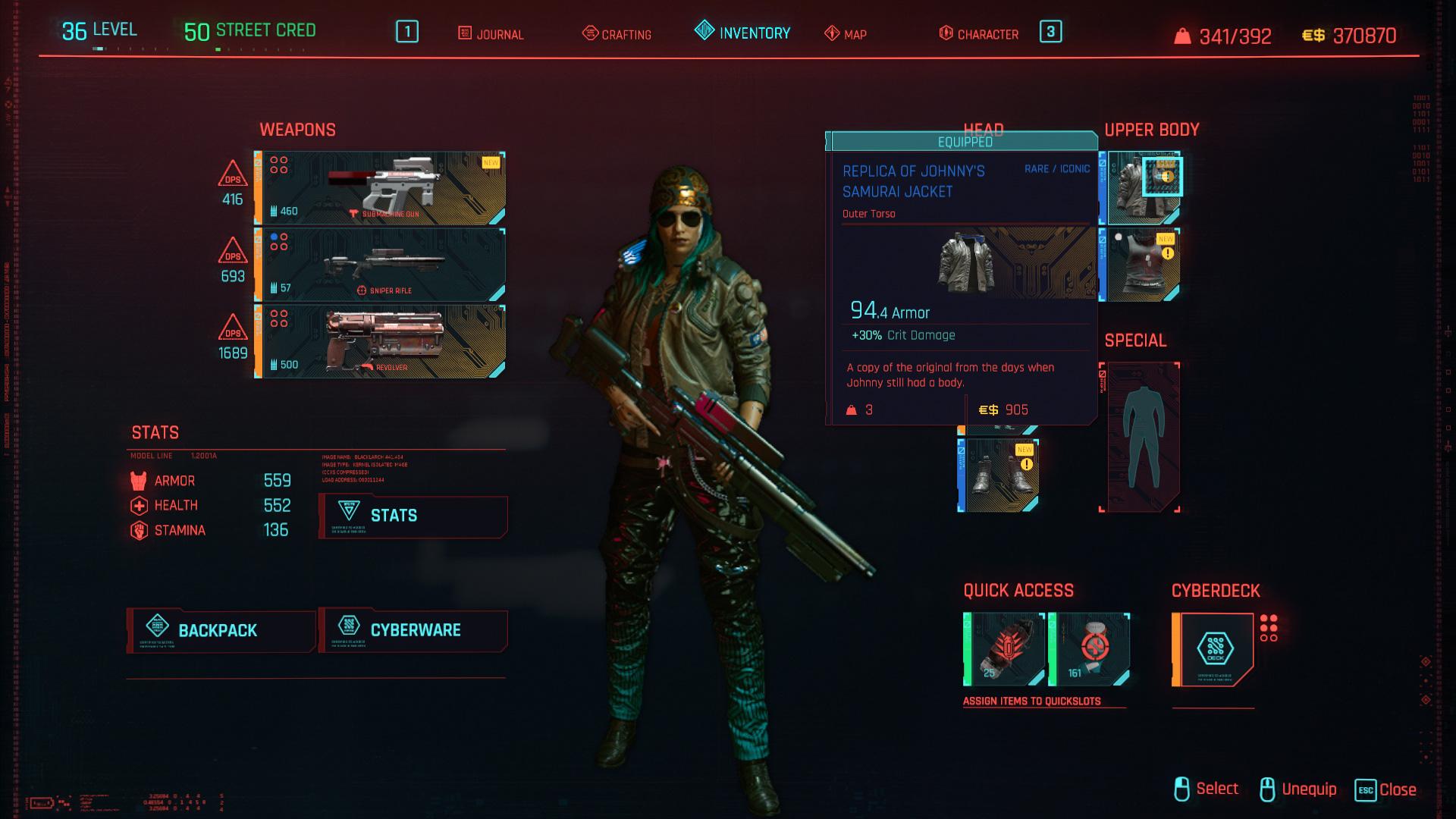 Tous les vêtements légendaires et emblématiques dans Cyberpunk 2077 - Réplique de la veste Samurai de Johnny