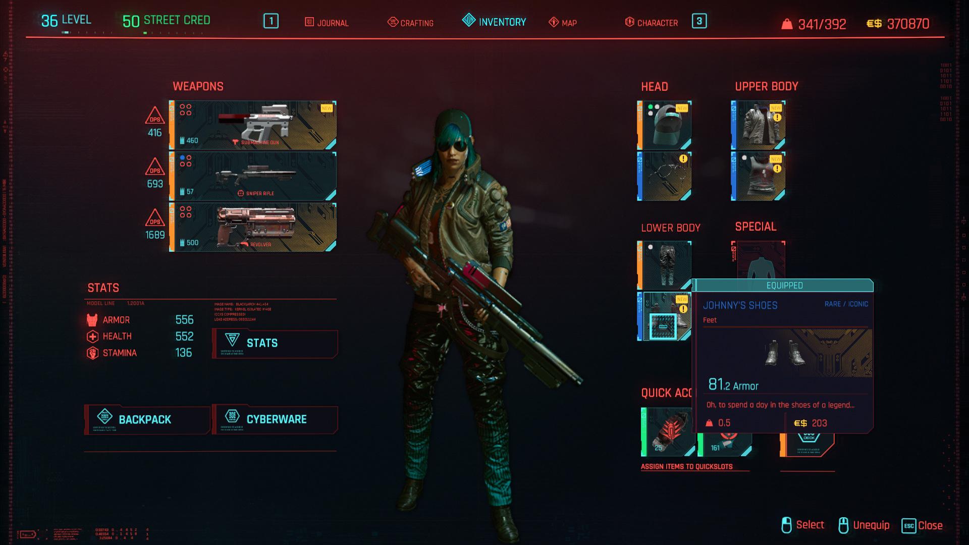 Tous les vêtements légendaires et emblématiques de Cyberpunk 2077 - Johnny's Shoes