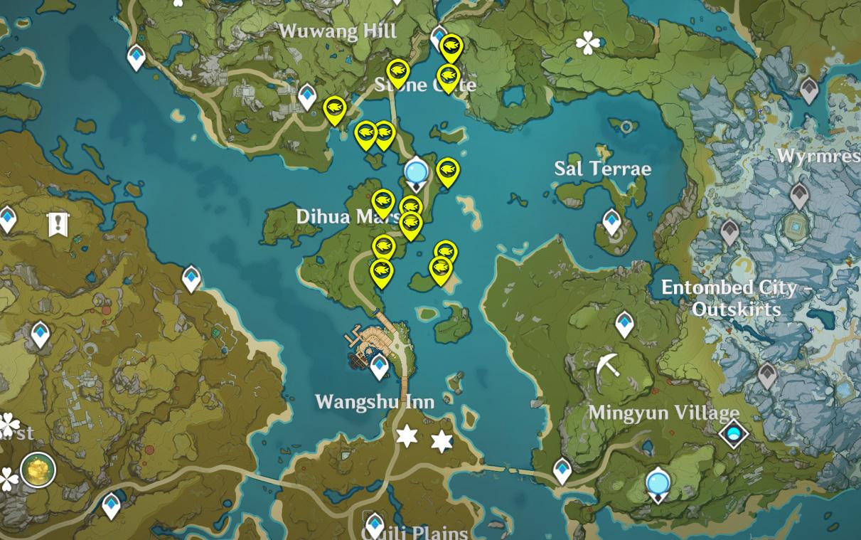 Où trouver Loach Pearls et Golden Loach à Genshin Impact Map