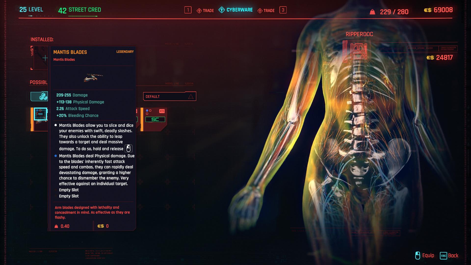 Comment obtenir des lames Mantis gratuites dans Cyberpunk 2077