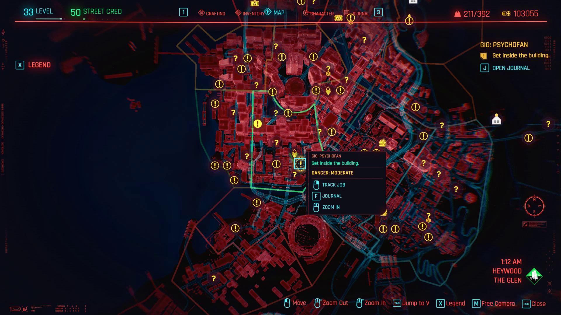 Cyberpunk 2077 Pyschofan Map Zoom arrière