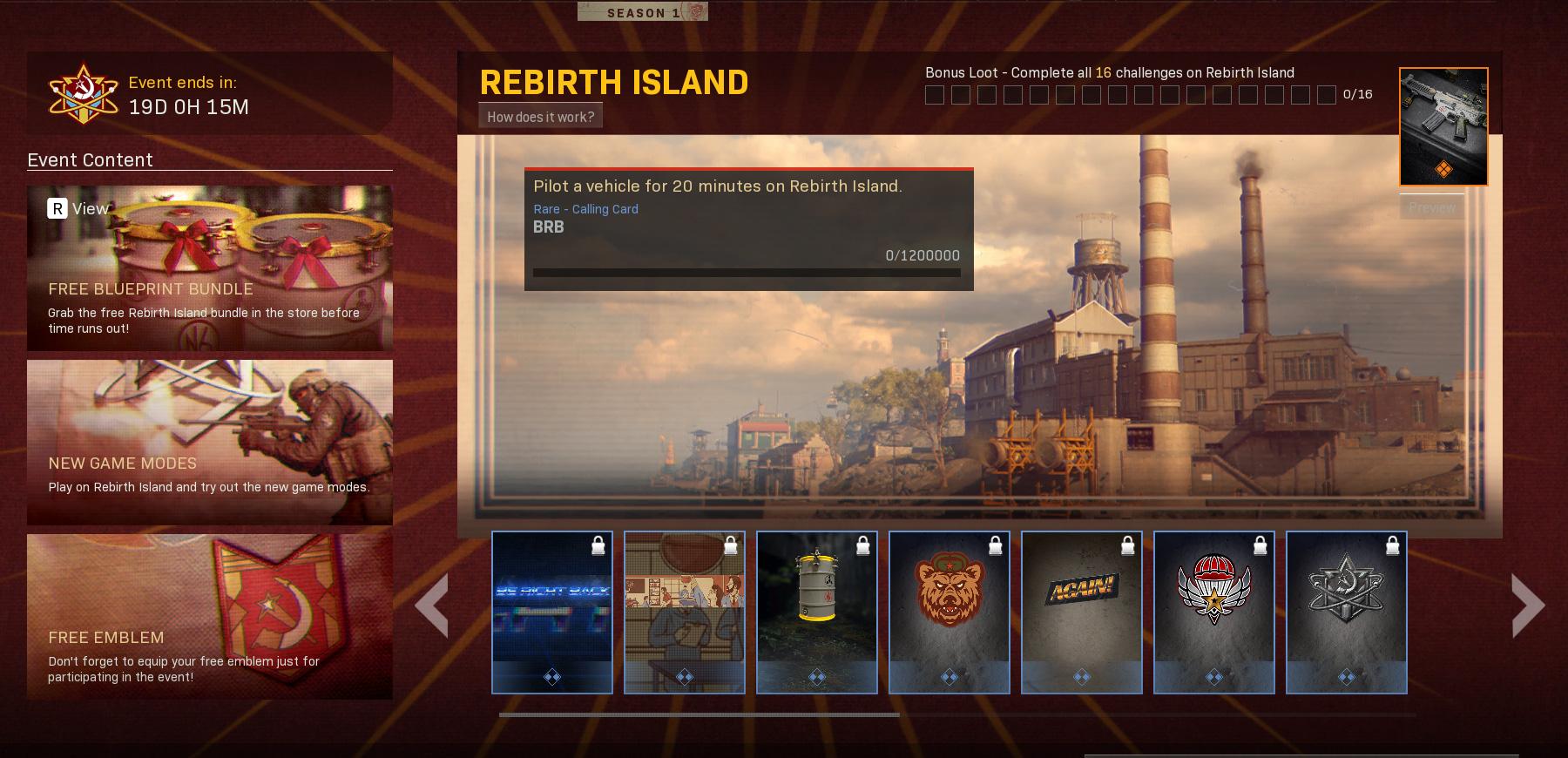 Rebirth Island Rewards dans Call of Duty Warzone