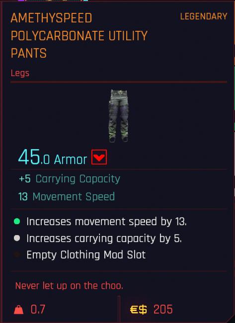 Tous les vêtements légendaires et emblématiques de Cyberpunk 2077 - Pantalon utilitaire en polycarbonate Amethyspeed