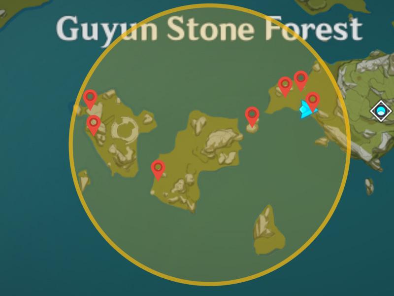 Genshin Impact Lost Riches Treasure Area 13 emplacements dans la forêt de pierres de Guyun