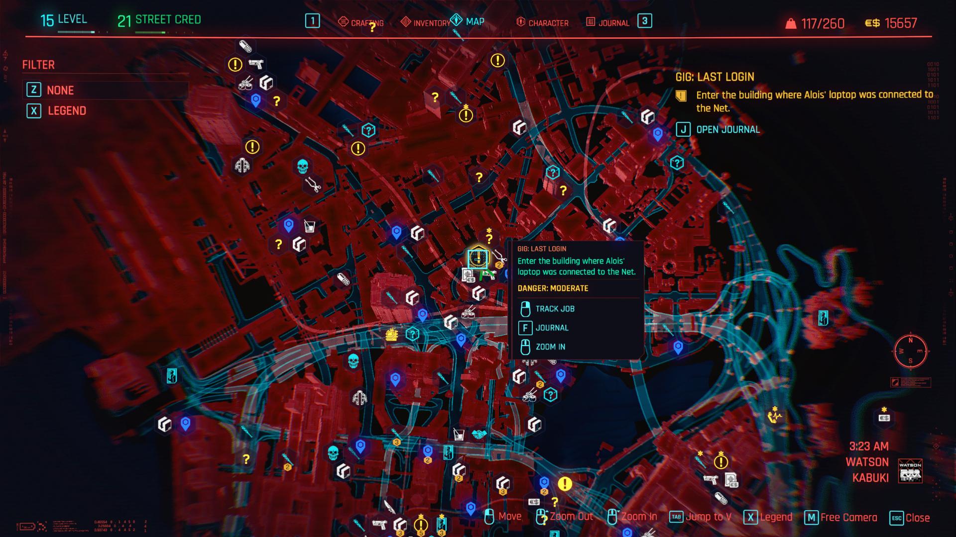 Dernière connexion Zoom arrière Cyberpunk 2077 Charles Location
