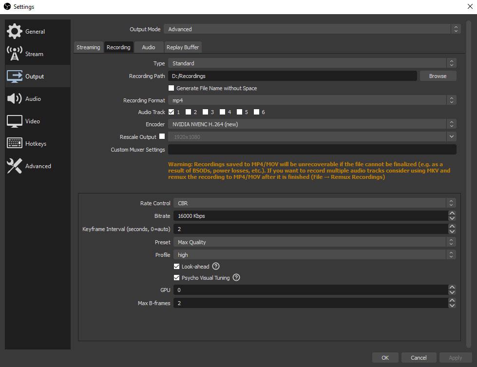 Meilleurs paramètres de sortie vidéo d'enregistrement pour OBS - Sortie