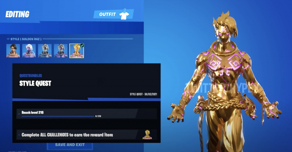 Déverrouillage de la peau d'or Fortnite