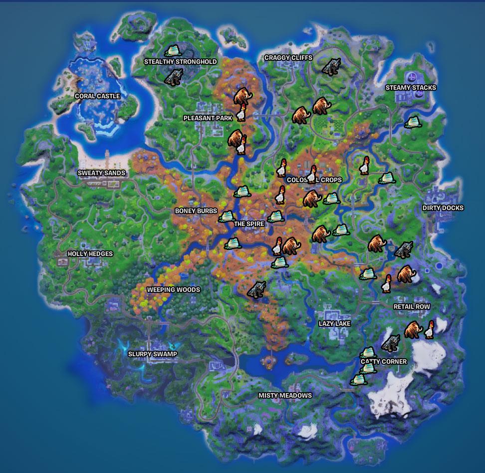 Où trouver des animaux sauvages, des loups, des poulets, des sangliers, à Fortnite