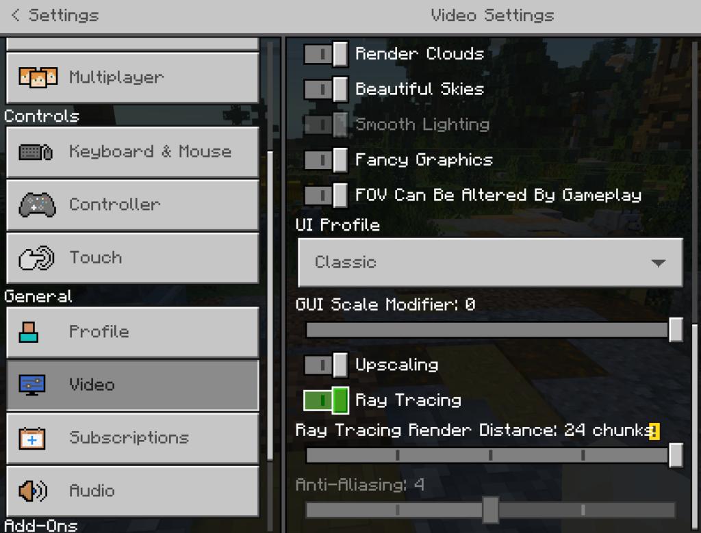 Comment activer le lancer de rayons dans Minecraft sur Windows 10