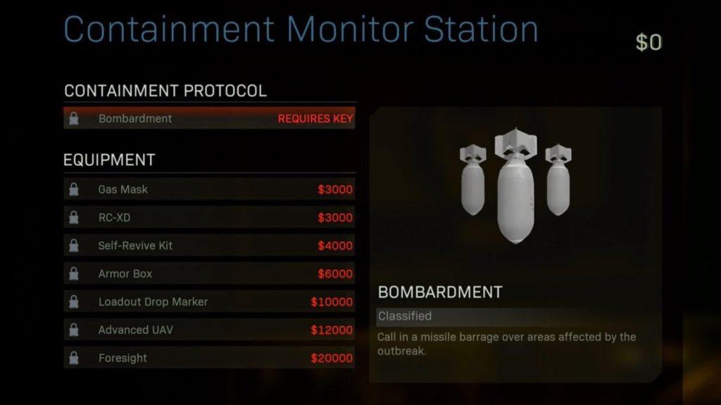 Comment obtenir la série de bombardements dans Warzone - Menu d'achat de la station de surveillance du confinement Call of Duty Warzone