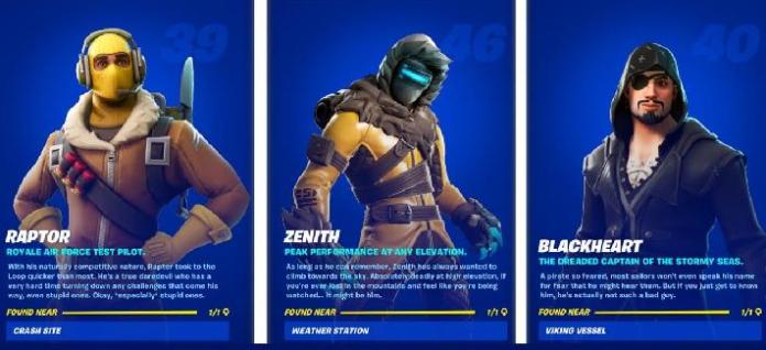 Emplacements de Raptor, Zenith et Blackheart dans la saison 6 de Fortnite