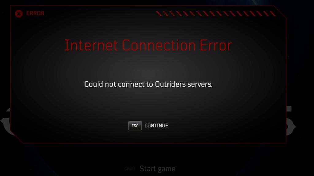 Comment réparer l'erreur de connexion Outriders: impossible de se connecter aux serveurs