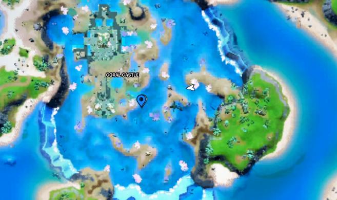 Contre-la-montre de natation au château de corail Fortnite