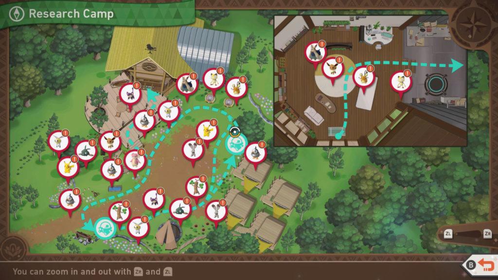 Nouvelle carte du camp de recherche Pokemon Snap