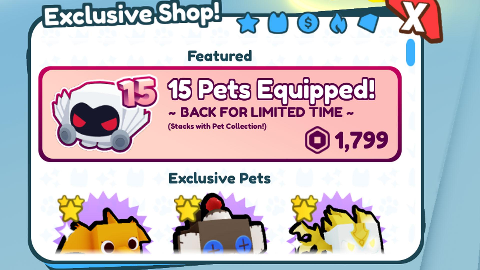 Pet Simulator X - Pass de jeu équipé de 15 animaux